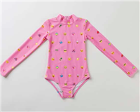long sleeve pink suit with emojis and back zipper