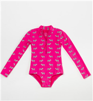 long sleeve Hot Pink suit with zebra and back zipper