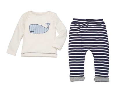 baby 2 piece set with blue stripe pants with long sleeve white tee with whale