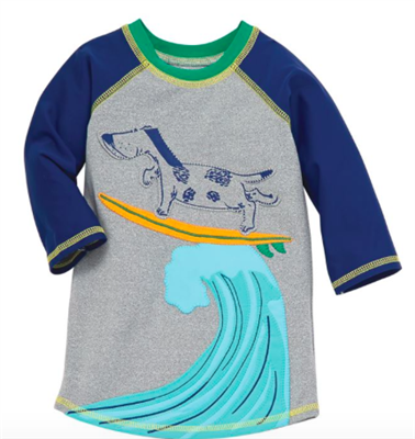 baby boy surfing dogs rash guard