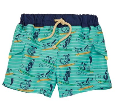 baby boy surfing dogs swim trunks