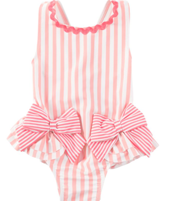 baby pink bow one piece swimsuit