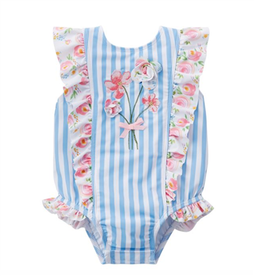 striped baby one-piece swimsuit with flowers