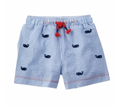 Baby boy seersucker swim trunks