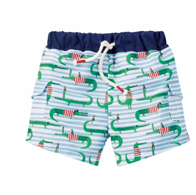 Baby alligator print swim trunks