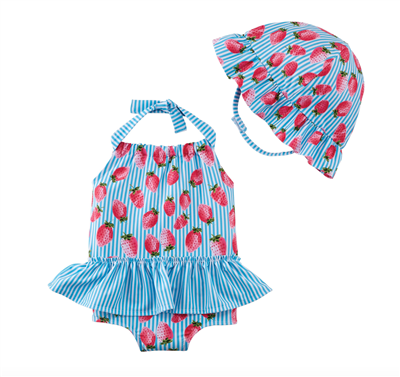 Baby one-piece swimsuit with stripes and strawberry print with matching sun hat.