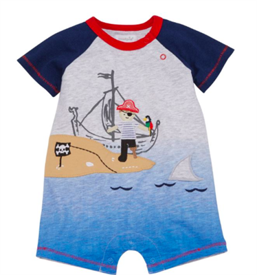 baby short sleeve shortall with a pirate on the front
