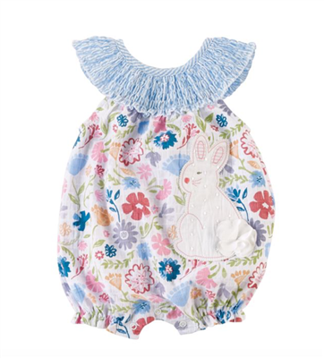 floral smocked bunny bubble for baby