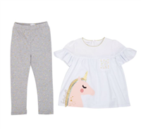White toddler top with unicorn and gray leggings with gold stars on them
