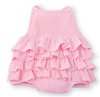 pink and white stripe seersucker one piece toddler swimsuit