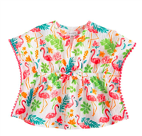 crinkle cotton toddler swim cover-up with flamingo print and pink pom pom trim