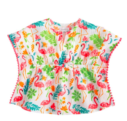 21a4284c3d crinkle cotton toddler swim cover-up with flamingo print and pink pom pom  trim