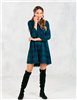 ladies button front green plaid shirt dress