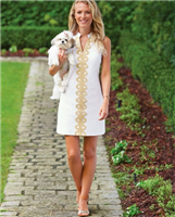 White cotton sleeveless dress with gold detailing down the front