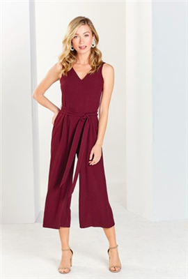 ladies v-neck wide leg jumpsuit in pinot