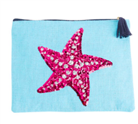 blue zip top jute bag with a sequin starfish