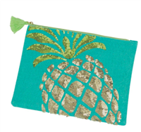 turquoise zip top jute bag with a sequin pineapple