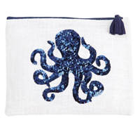 white zip top jute bag with a sequin octopus
