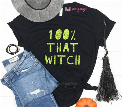 ladies black short sleeve v-neck t-shirt that reads 100% that witch