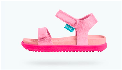 pink glitter plastic sandal with velcro straps