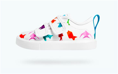 white toddler sneakers with origami print with velcro straps