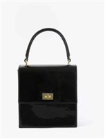 black patent leather handbag with top handle and gold hardware