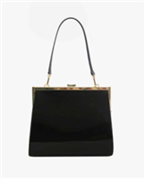 black patent leather frame bag