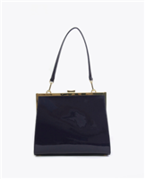 navy patent leather frame bag