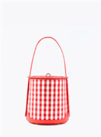 red and white gingham canvas frame bag with red leather strap