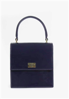 navy patent leather handbag with top handle and gold hardware