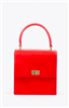 women's red leather handbag with top handle and gold hardware