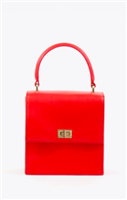 red leather handbag with top handle and gold hardware