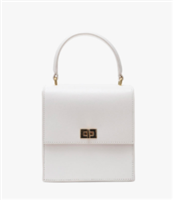 white leather handbag with top handle and gold hardware