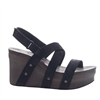 leather wedge sandal in black suede