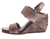 ladies leather wedge sandal in gold with velcro closure