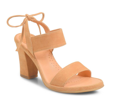 Women's Tan Suede heels with a tie back