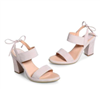 Light Pink Suede 3 inch heels with tie at the ankle