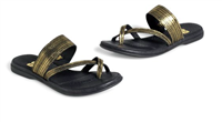 ladies flat sandal in black and gold metallic suede