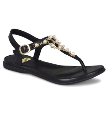 women's black leather flat sandals with pearl and chain embellishment