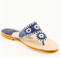 women's navy leather slip on flat sandal with white whipstitch detail