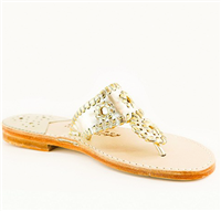 Platinum leather slip on flat sandal with gold whipstitch detail
