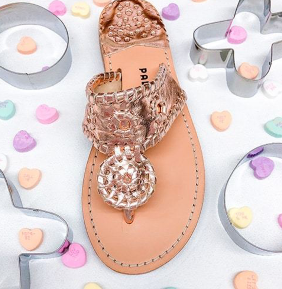 Classic Rose Gold Whipstitch Sandal