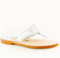 Ladies white leather slip on flat sandal with white whipstitch detail