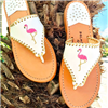 women's White leather slip on flat sandal with pink and gold embroidered flamingo with gold whipstitch detail
