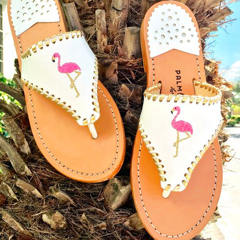 797506d2e69d0 White leather slip on flat sandal with pink and gold embroidered flamingo  with gold whipstitch detail