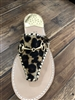 leopard hair calf leather slip on flat sandal with whipstitch detail