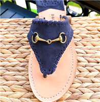 navy suede leather slip on flat sandal with whipstitch detail