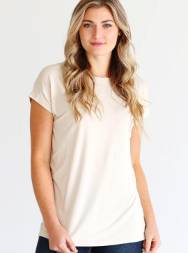 women's Round Neck Short Sleeve bamboo Top in Sand