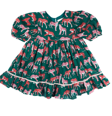 toddler evergreen dress with pink cheetahs print