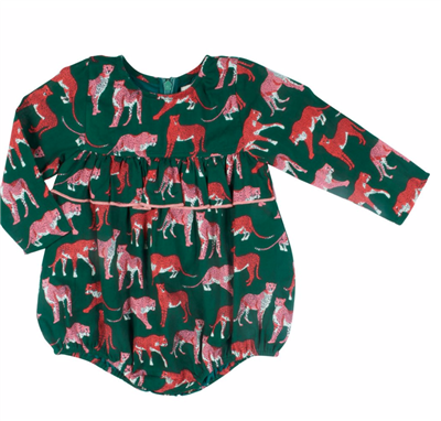 baby evergreen long sleeve bubble with pink cheetahs print
